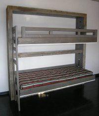 LIt rabattable superposé LINEA Vieux bois
